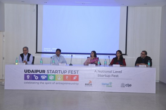 Chief General Manager, RIICO, Mr Anil Sharma; Founder and CEO of BOOND, Mr Rustam Sengupta; Co-founder and CEO of Thrillophilia.com, Ms Chitra Daga; Principal Secretary Industries, Government of Rajasthan, Ms Veenu Gupta; Chief Operating Officer of Startup Oasis, Mr Chintan Bakshi at the inaugural session of Udaipur Startup Fest today in the Lake City.