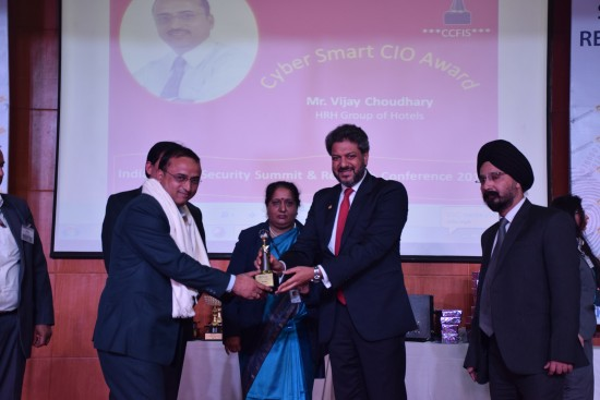 Cyber Smart CIO Award to HRH Group of Hotels – Udaipur – India