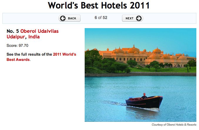 World's Best Hotels in 2011 Oberoi Udaivilas