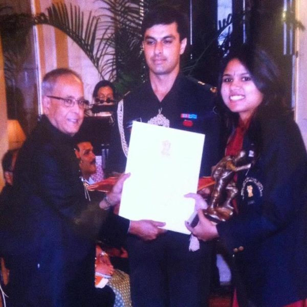 Award Being Presented to Bhakti Sharma by The President Of India