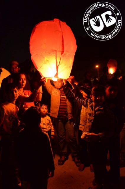 Kids enjoying with Lanterns