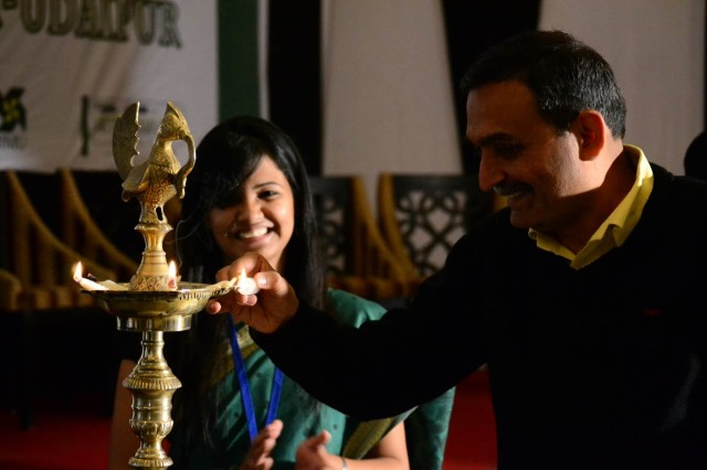 Prof. Janat Shah, Director, IIM Udaipur lighting the inaugural lamp for Arth-Samvaad 2013