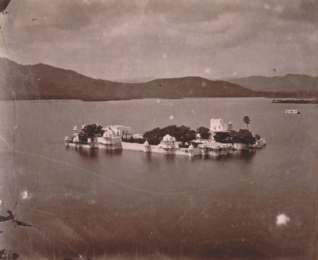 General view of Jag Niwas (Lake Palace) and Lake Pichola, from the City Palace, Udaipur