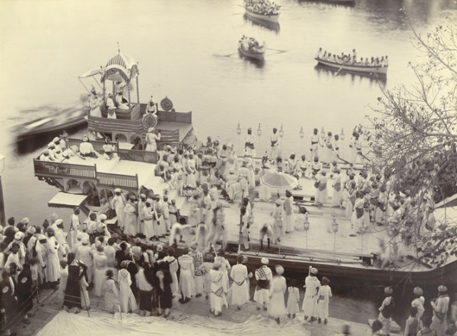 His Highness on board the Royal barge in the Lake Pichchola, Udaipur