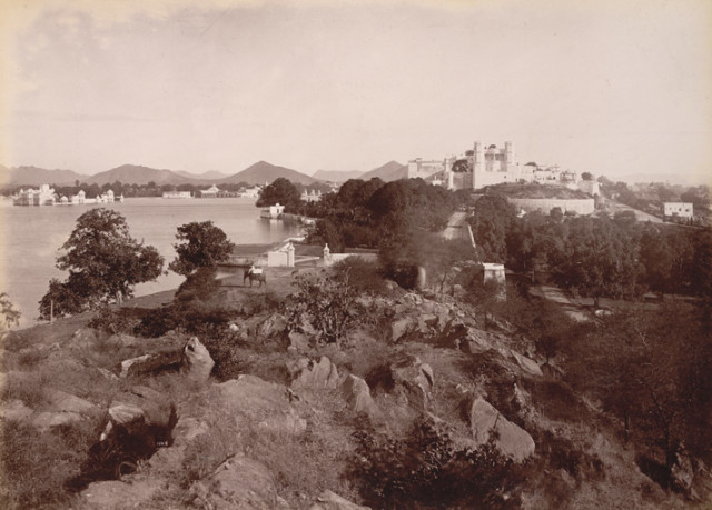 Palace and Lake from the south, [Udaipur]