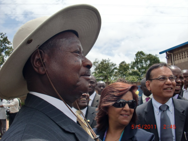 With President Musevani of Uganda.