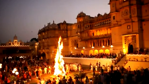 Holika Dahan in Udaipur by Royal Family of Mewar