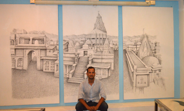 This sketch of Jagdish Mandir (displayed at O'zen) took 8 months to complete