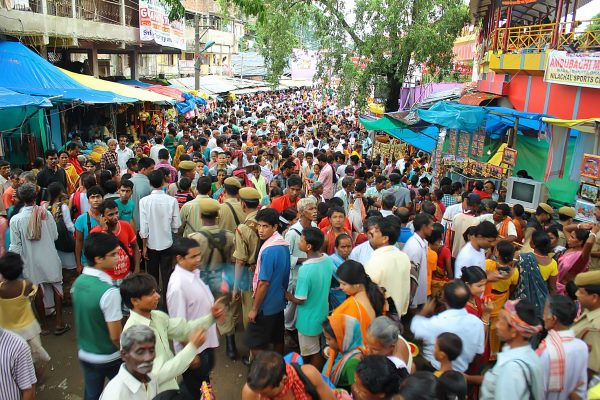 Gathering of people at Ambubashi Mela on Day 3 at Kamakhya Temple