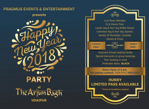 Best New Year Parties in Udaipur for Welcoming the NY 2018!